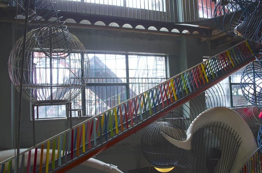 colorful slides in the City Museum in St. Louis, Missouri