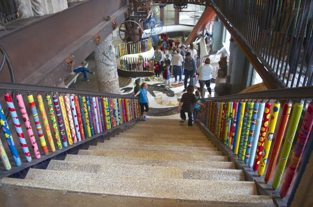 colorful stair rails in the City Museum in St. Louis, Missouri