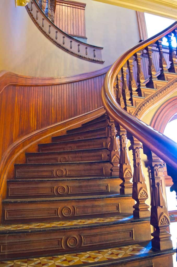 wooden stairs in the Iowa State Capitol Building