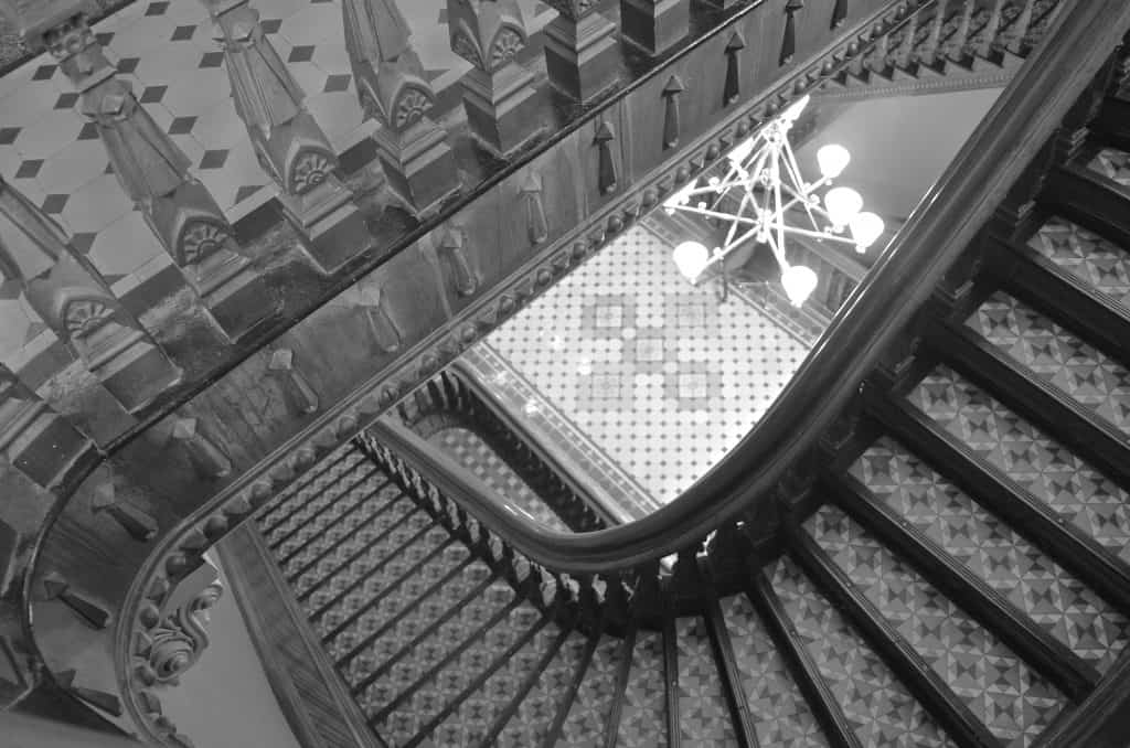 looking down the stairs in the Iowa State Capitol Building