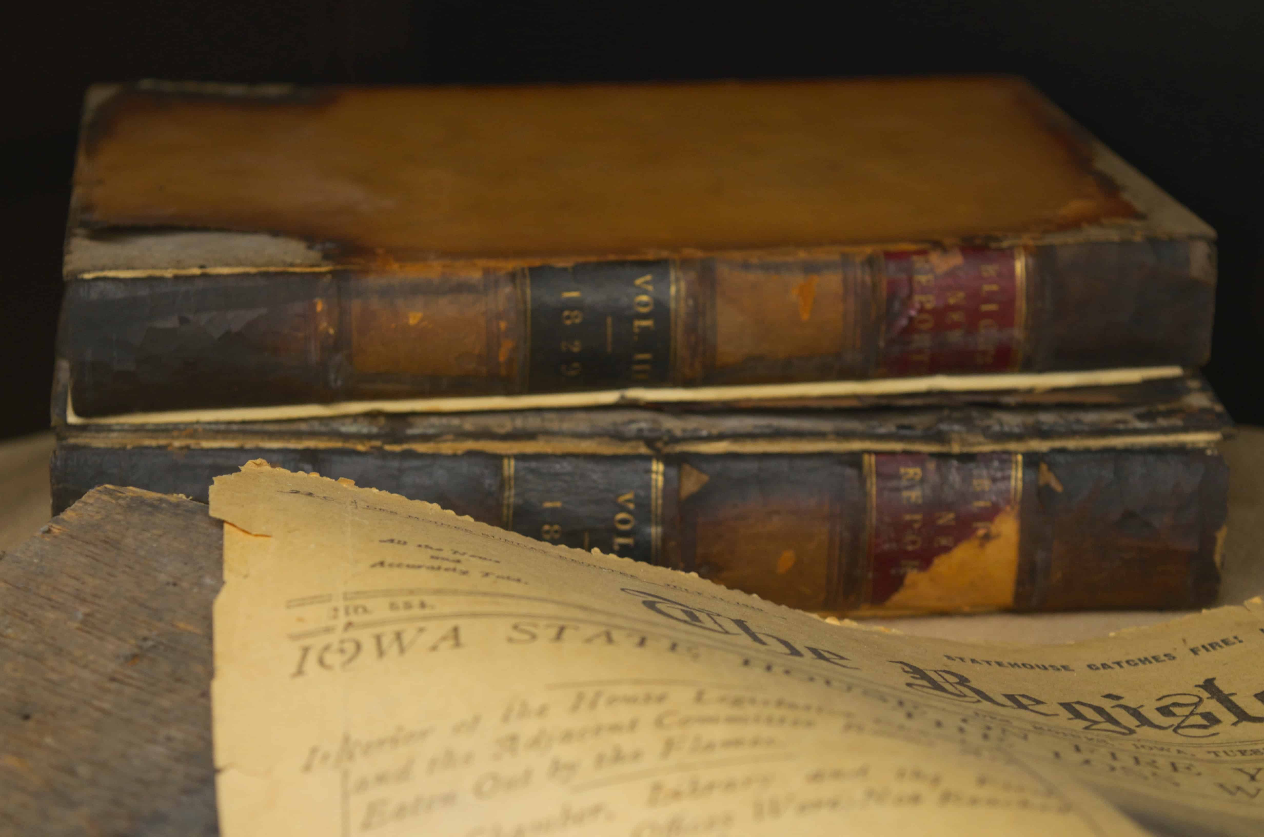 vintage newspapers and book inside Iowa State Capitol