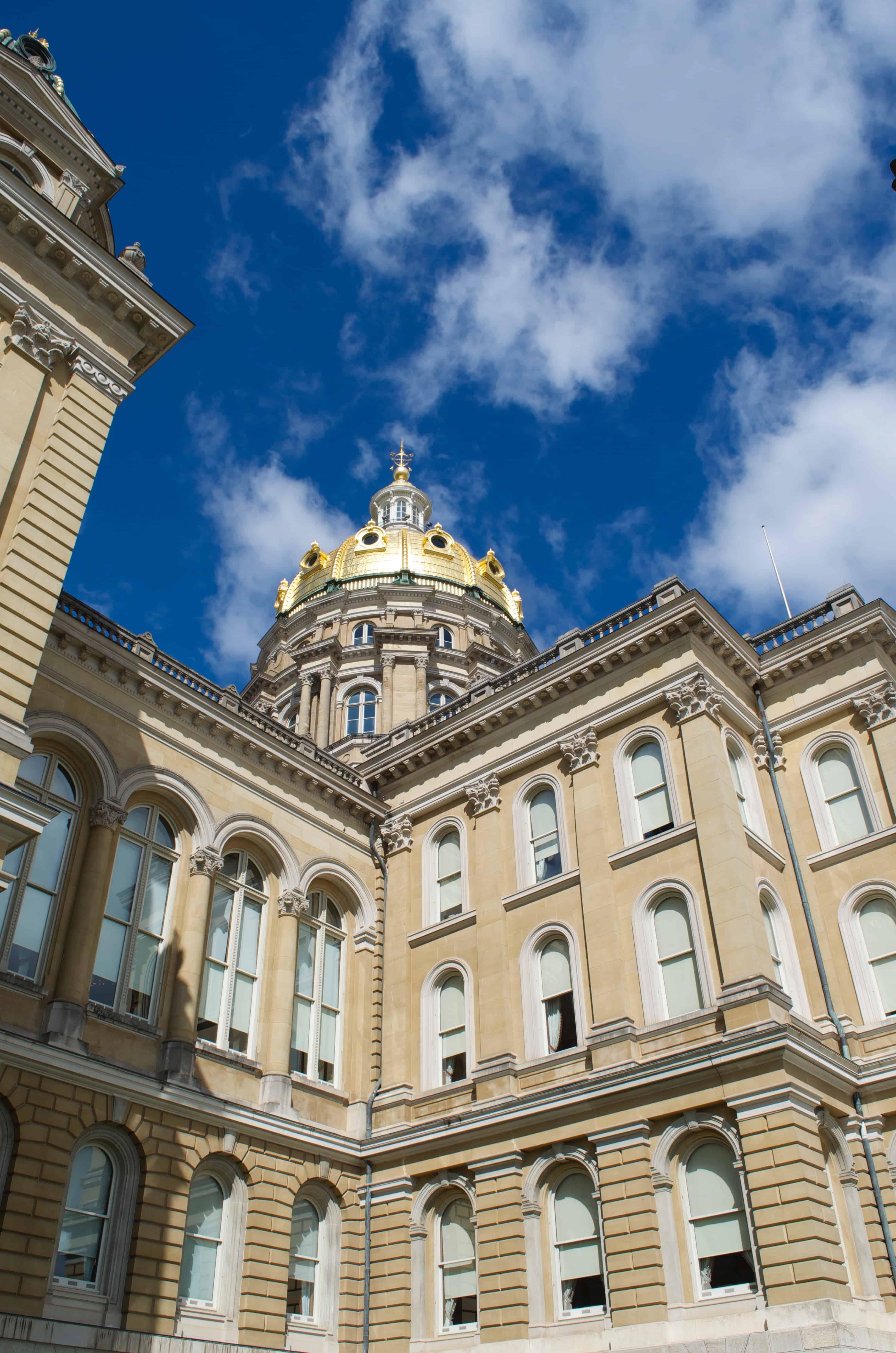 gold dome Des Moines Iowa State Capitol Square Building