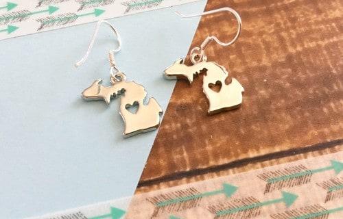 DIY Michigan State Earrings Travel Keepsake Jewelry
