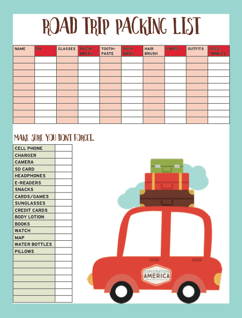 Printable Packing List & Travel Checklist