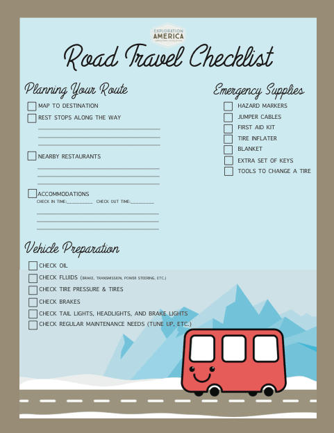 Challenger image pertaining to printable road trip checklist