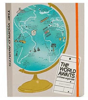 Vintage Travel Planner - the World Awaits. Adventure & wanderlust inspired organizer for your trips.
