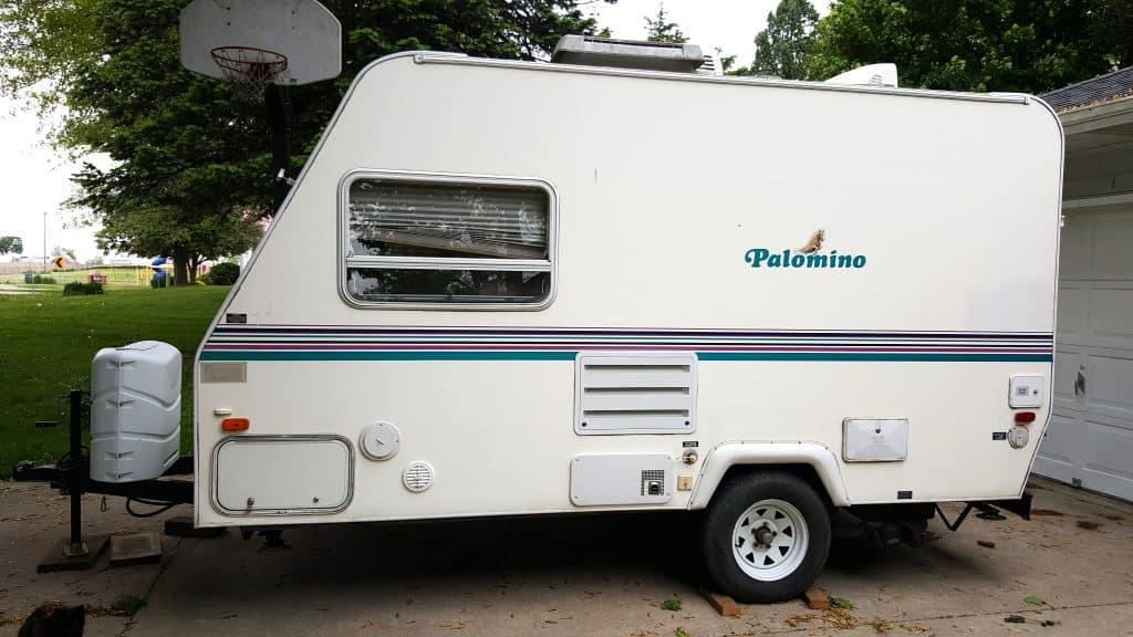 white Palomino travel trailer camper