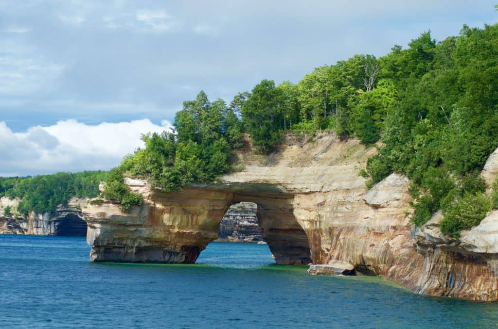 Sea Caves seen on Pictured Rocks Cruise on Lake Superior in Munising Michigan
