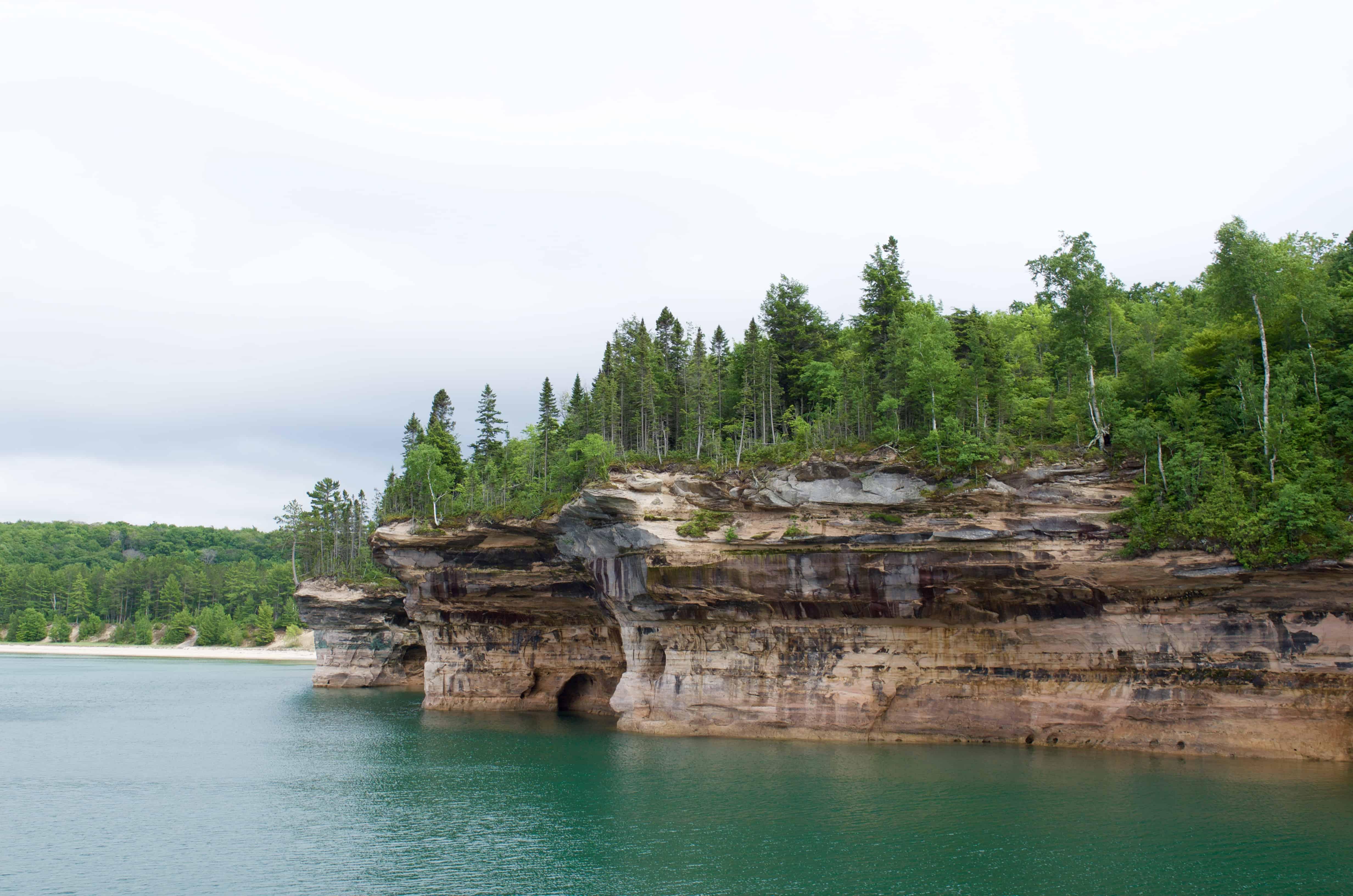 Battleship Row seen on Pictured Rocks Cruise on Lake Superior in Munising Michigan