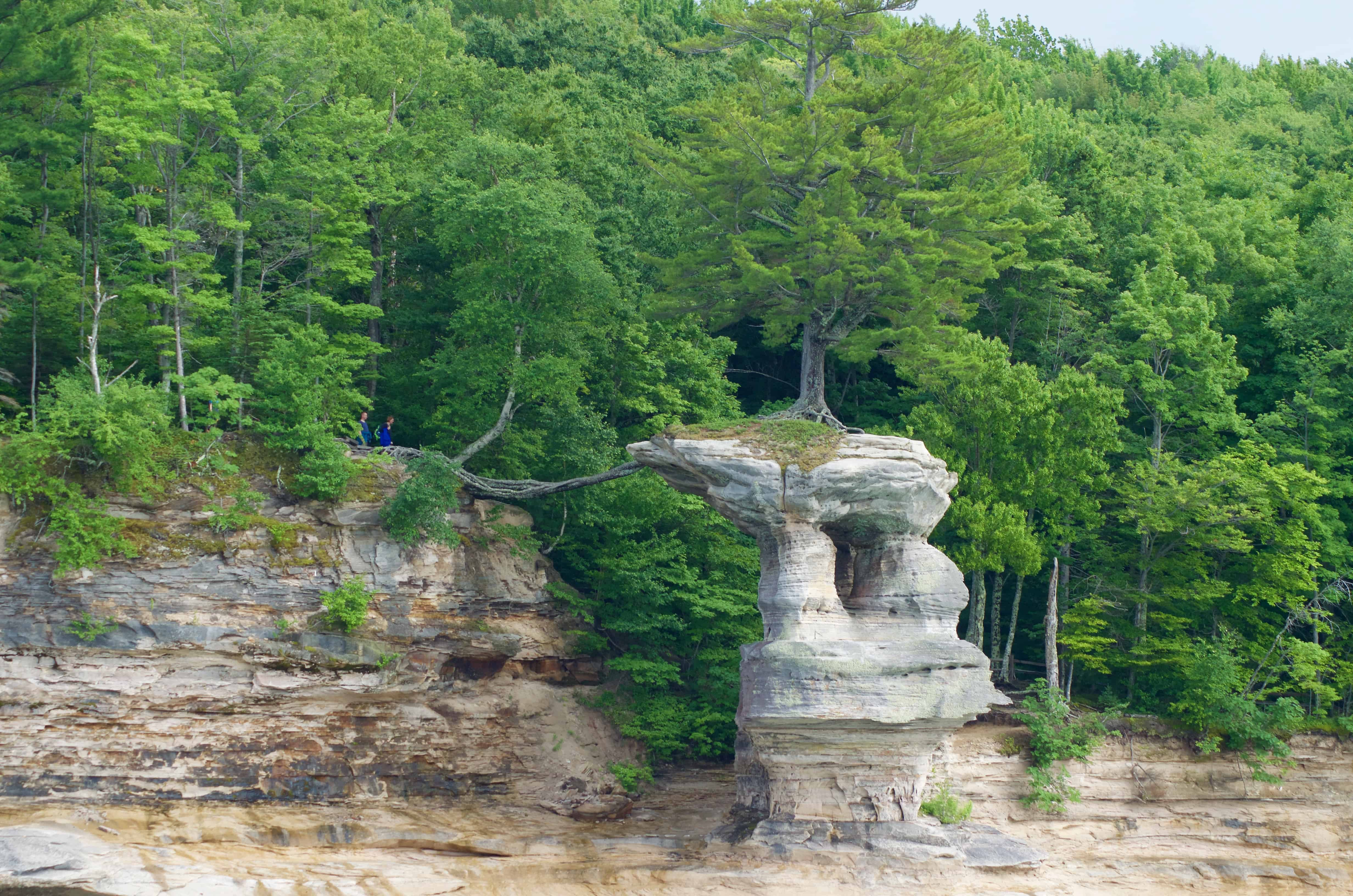 Castle Rock seen on Pictured Rocks Cruise on Lake Superior in Munising Michigan