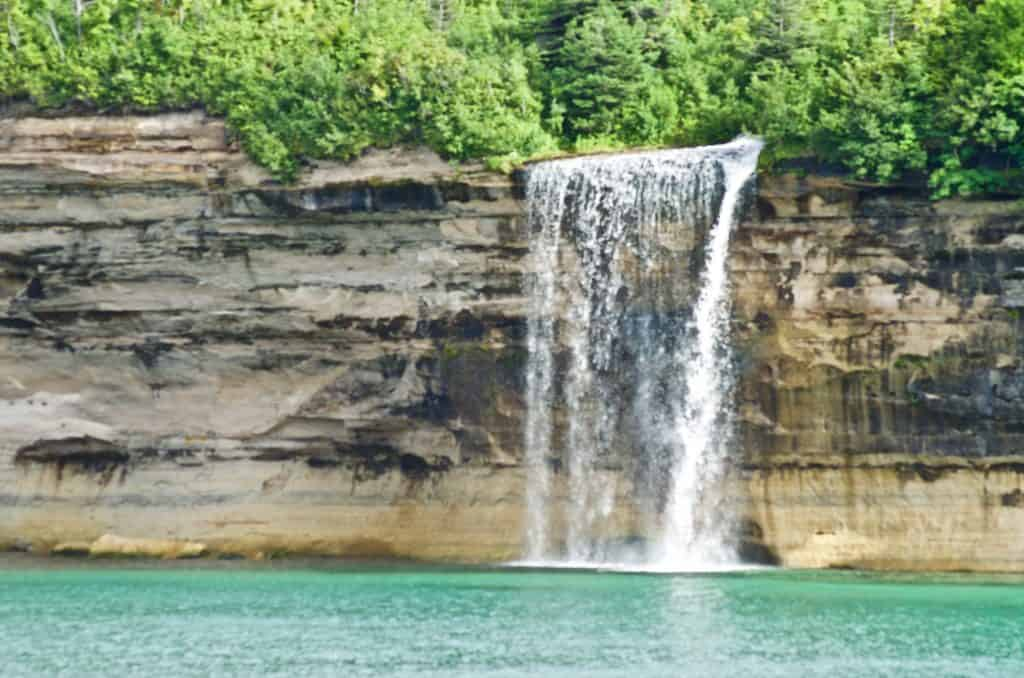 Spray Falls Pictured Rocks Cruise on Lake Superior in Munising Michigan