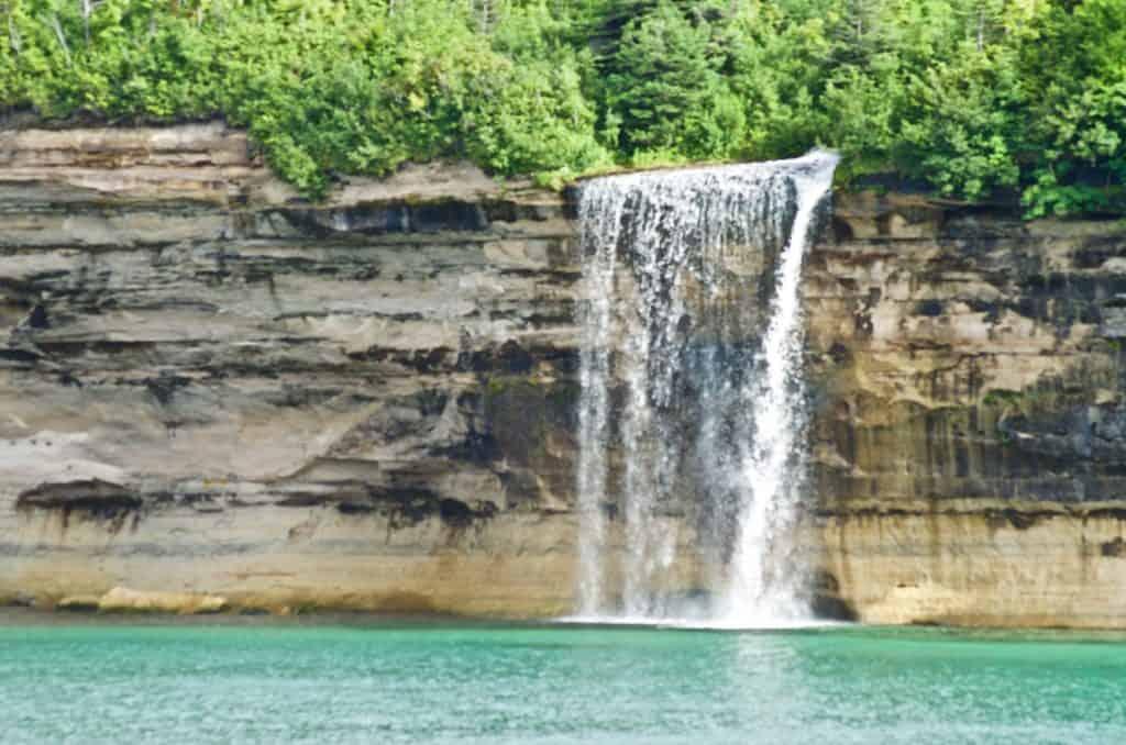 Spray Falls Pictured Rocks Cruise on Lake Superior in Munising Michigan