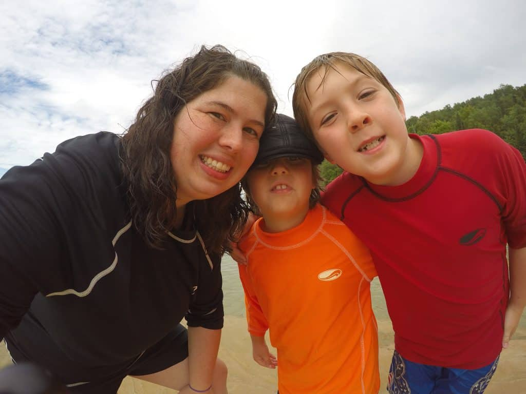 family selfie at beautiful Michigan beach
