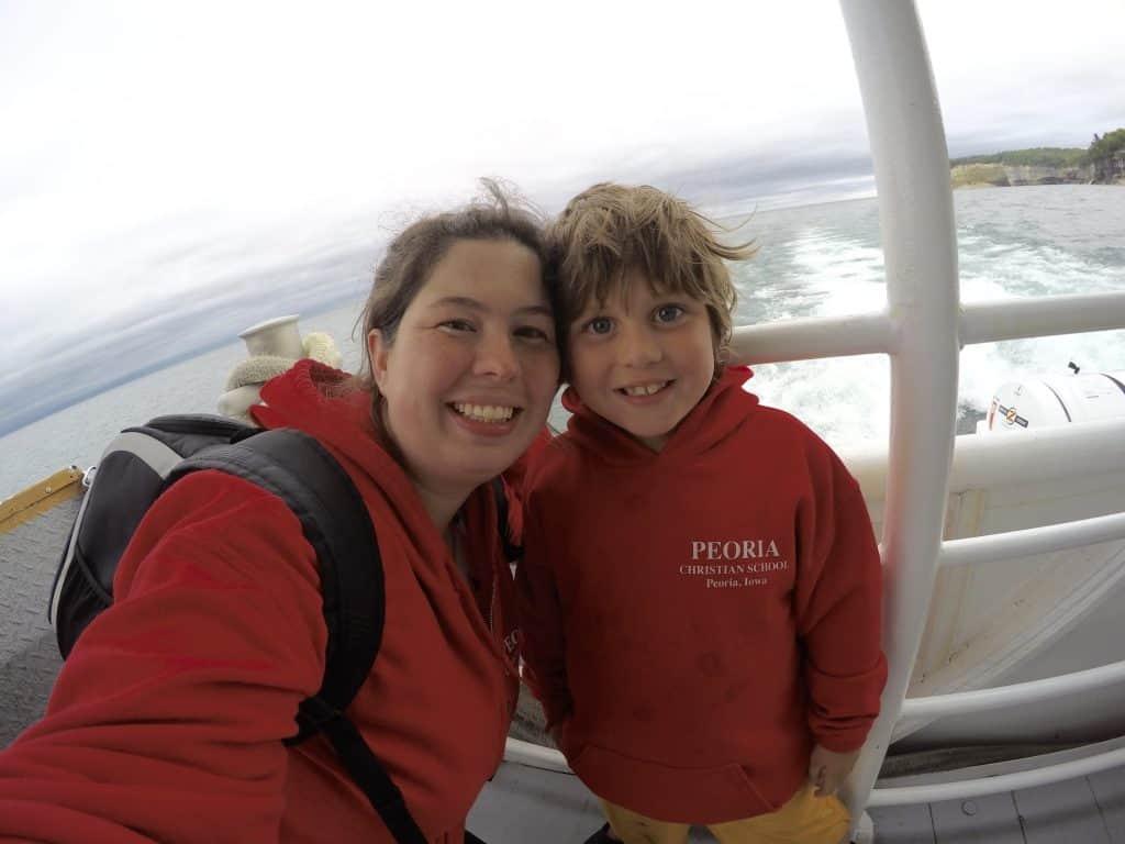 family on Pictured Rocks Cruise on Lake Superior in Munising Michigan