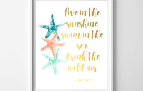 Free Printable Travel Wall Art – Live in the Sunshine, Swim in the Sea, Drink the Wild Air