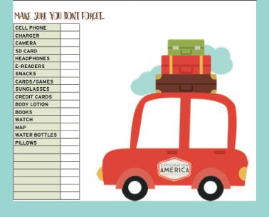 Printable Packing Travel List
