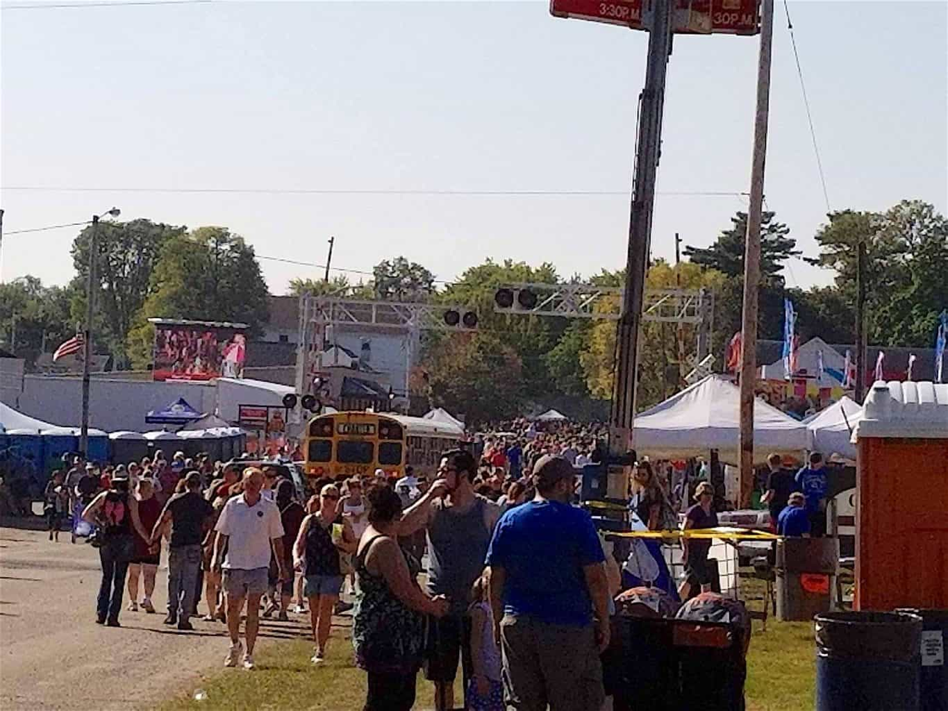 large crowd of people at Cranberry Festival Wisconsin