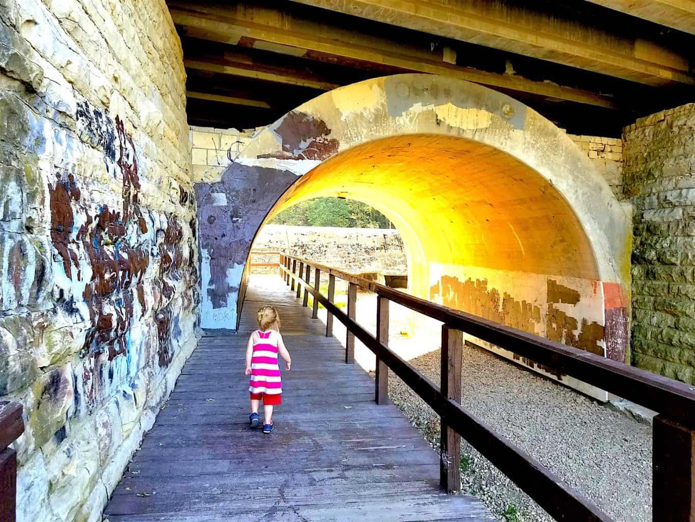 sunset tunnel in park in Joliet Illinois