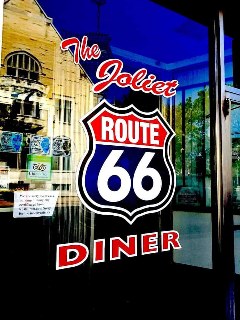 The Joliet Route 66 Diner Glass Sign