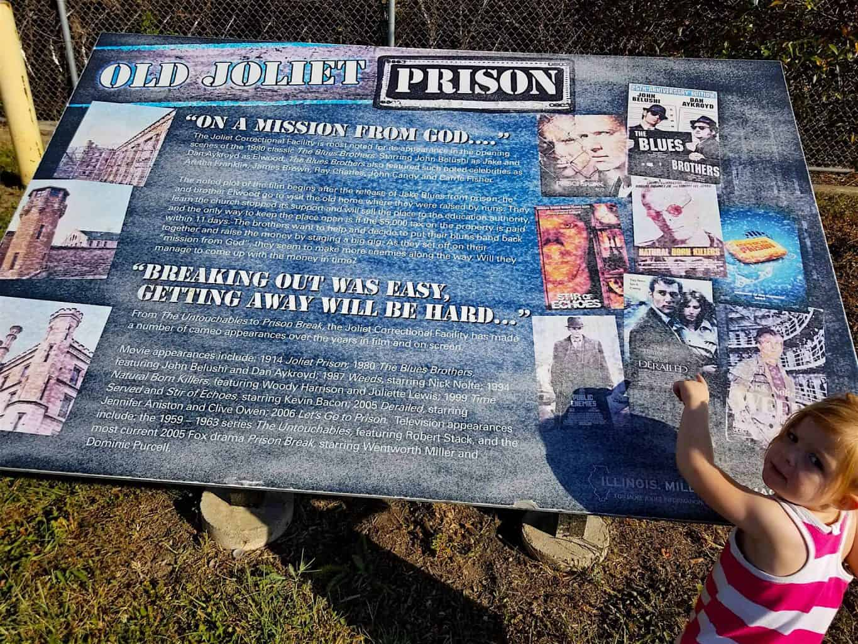 Old Joliet Prison info sign roadside attraction