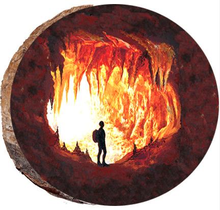 Cave Explorer Wood Ornament