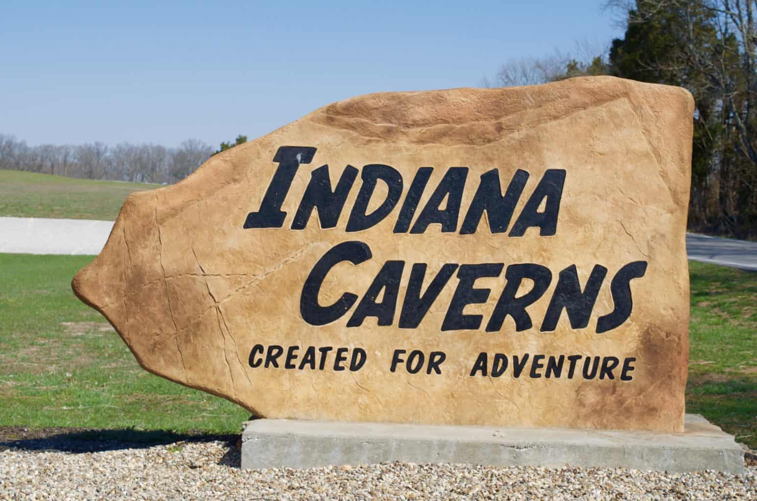 Indiana Caverns Stone Adventure Sign