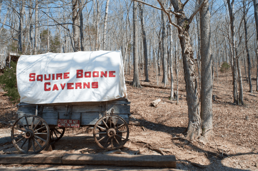 Squire Boone Caverns covered wagon