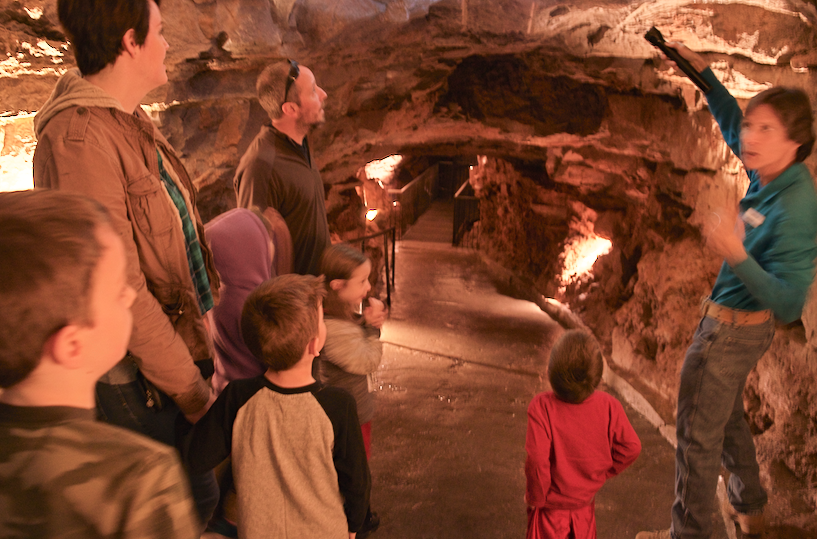 family on a cave tour in Indiana Caverns