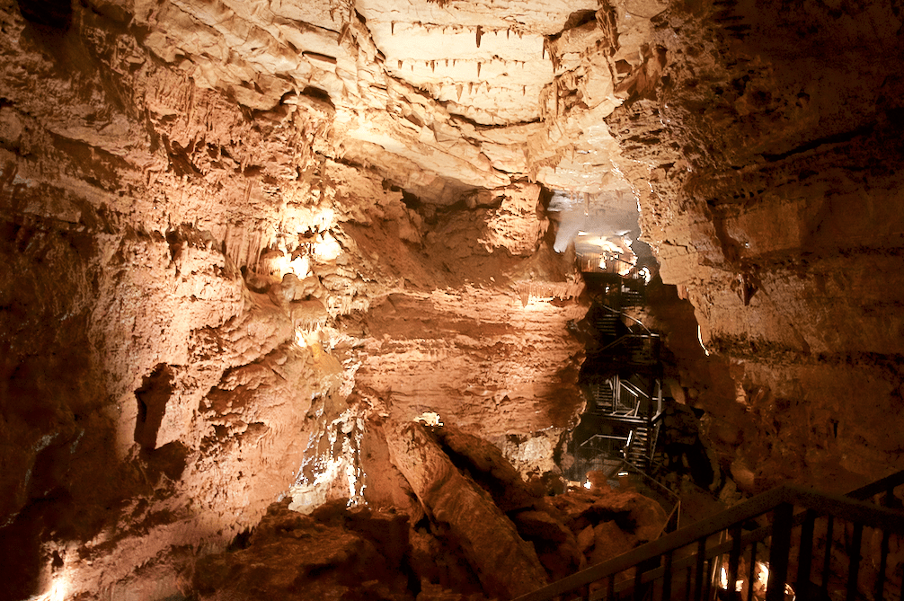 walkway inside of Indiana Caverns