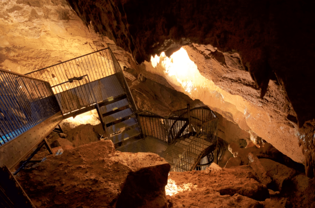 flights of stairs down into a cave