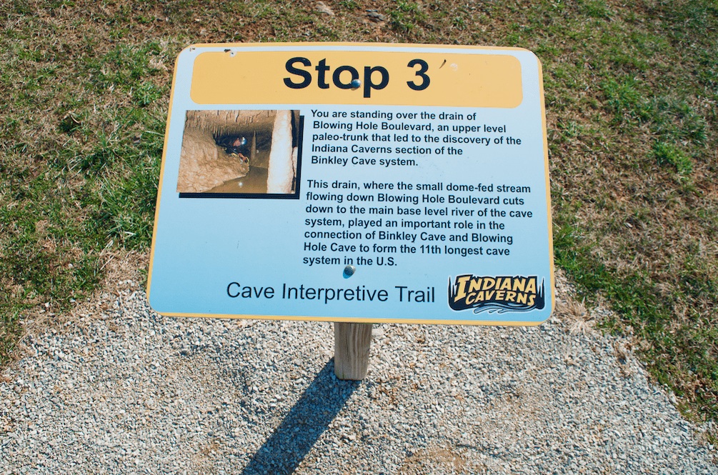 interpretive cave trail signs in Indiana