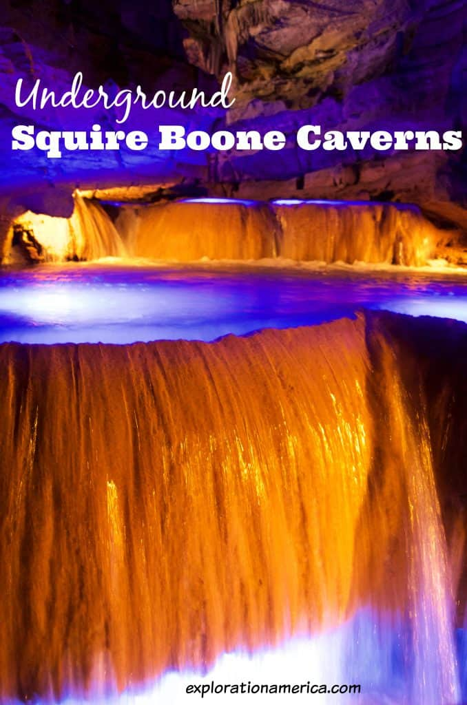 waterfall in Squire Boone Caverns