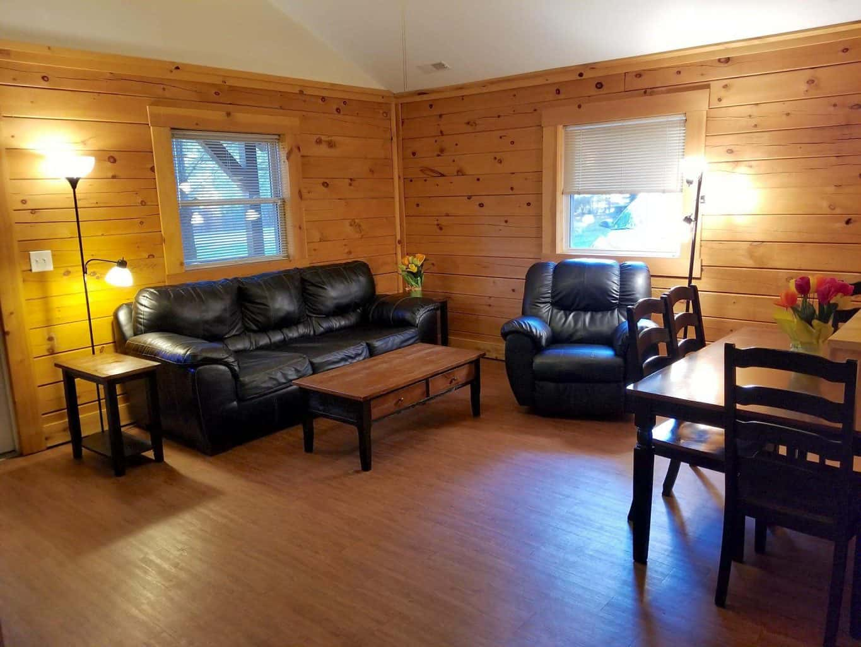 inside of cabin living room at Buffalo Trace Park