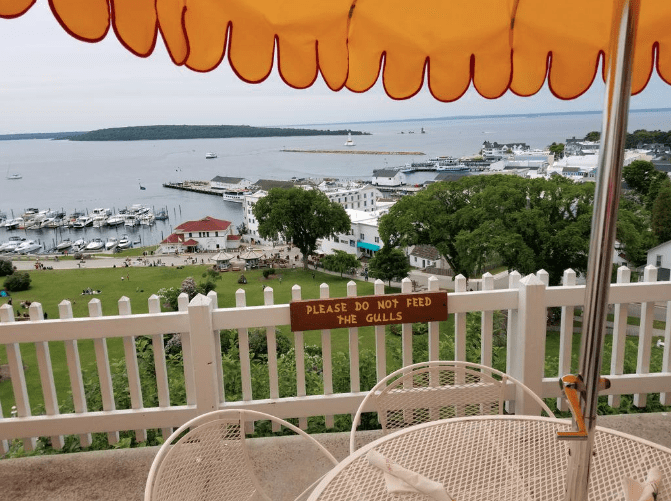 View of Mackinac Island harbor from Tea Room