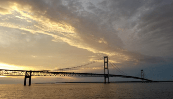 Mackinac Island Bridge at sunset Michigan