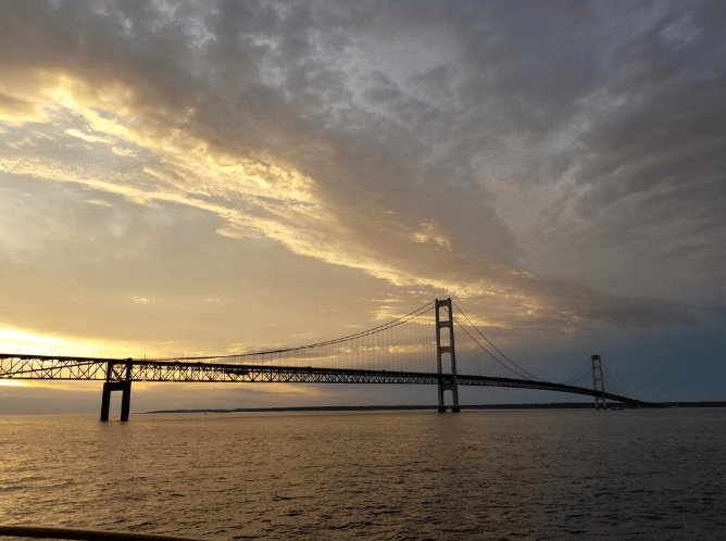 Mackinac Island Bridge at sunset Michigan