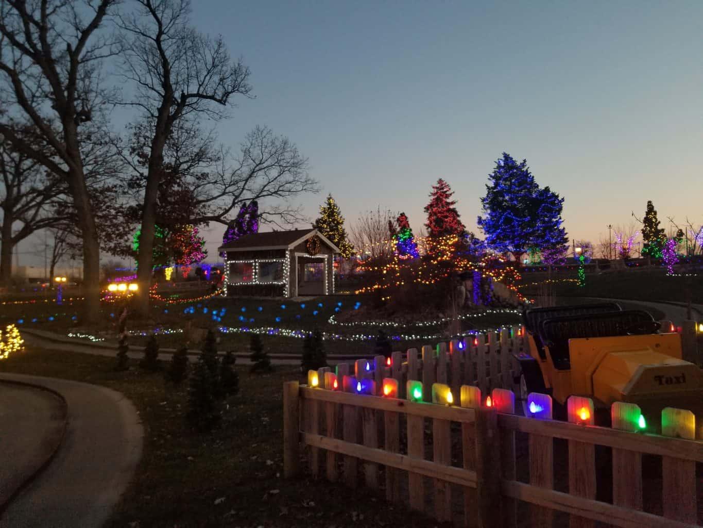 Christmas lights at theme park
