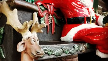 Santa and reindeer bench