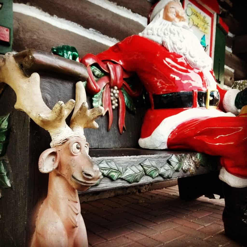 Santa and reindeer bench