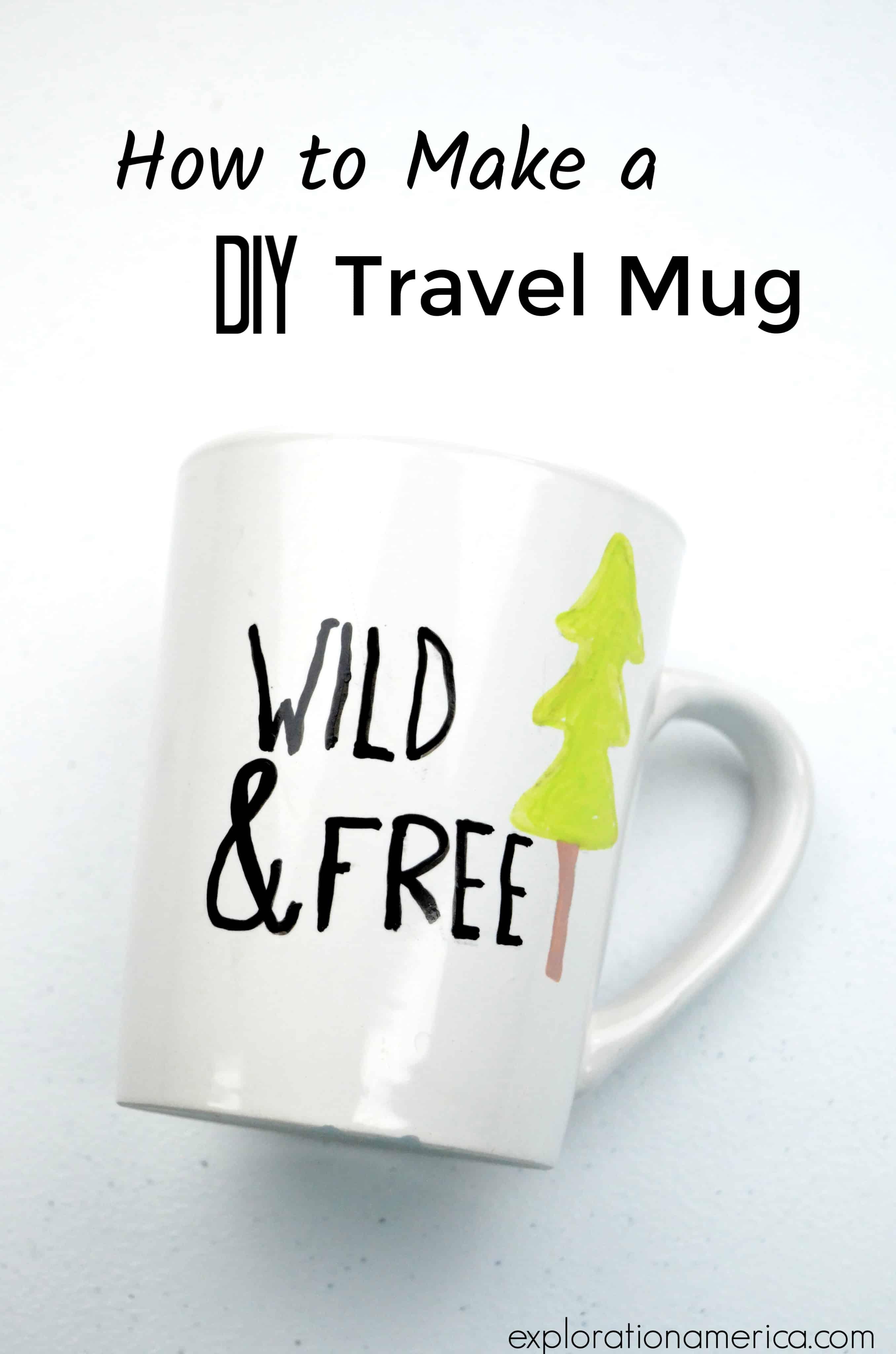 Wild & Free travel mug paint