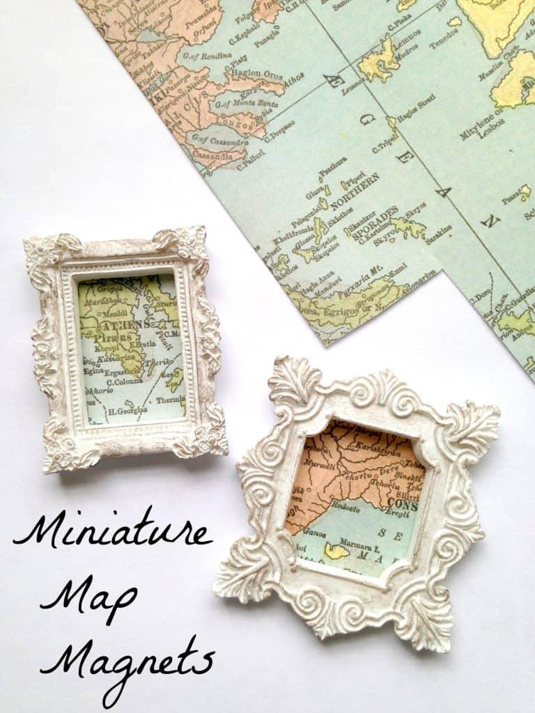 white framed map magnets