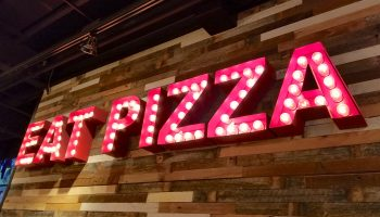Eat Pizza lights sign Giordano's Detroit
