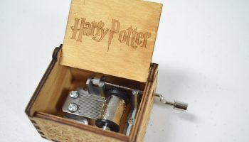 wooden Harry Potter wind up music box