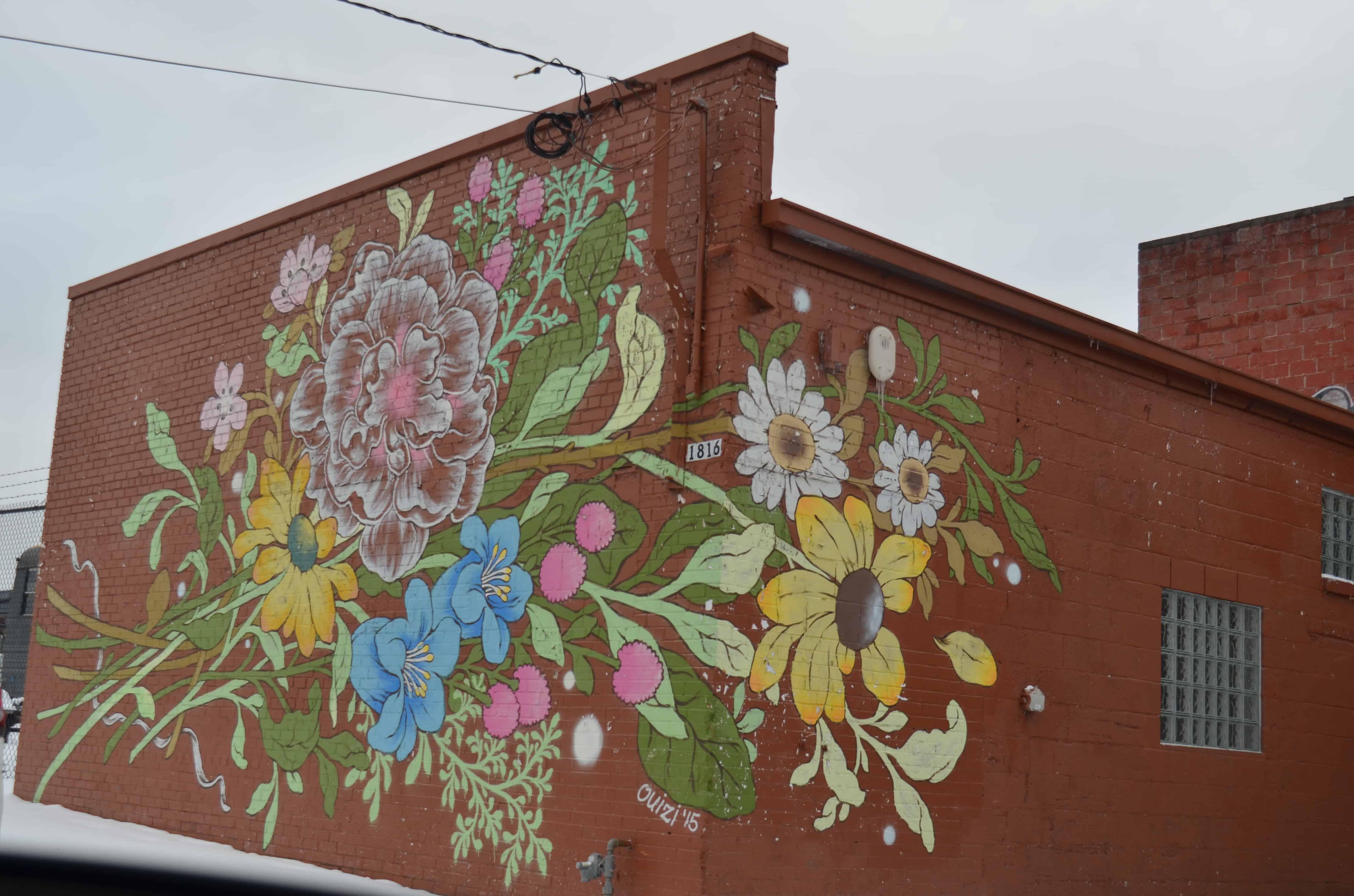 flower street art mural Detroit