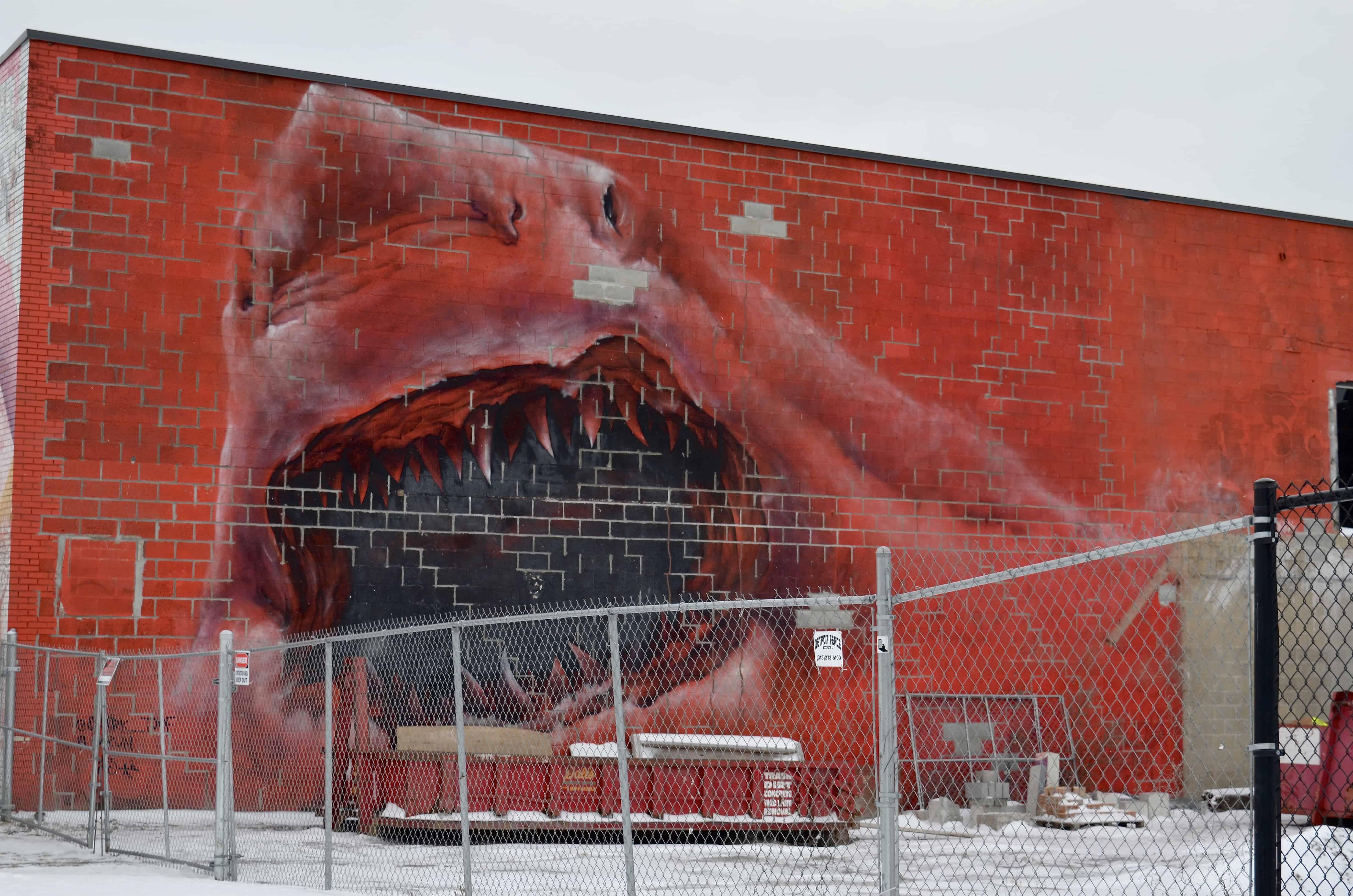large red shark art mural detroit