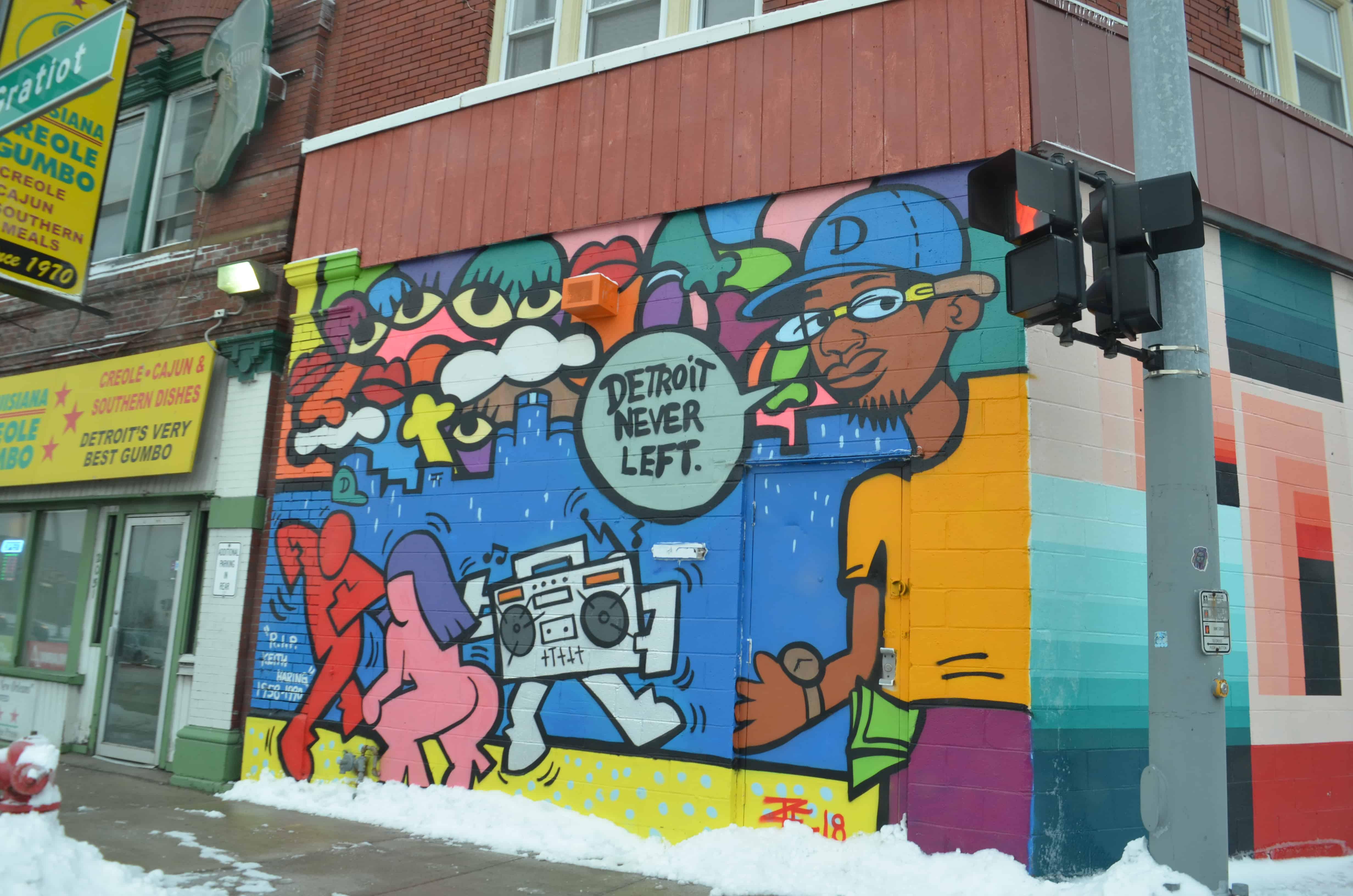 colorful street art mural Detroit