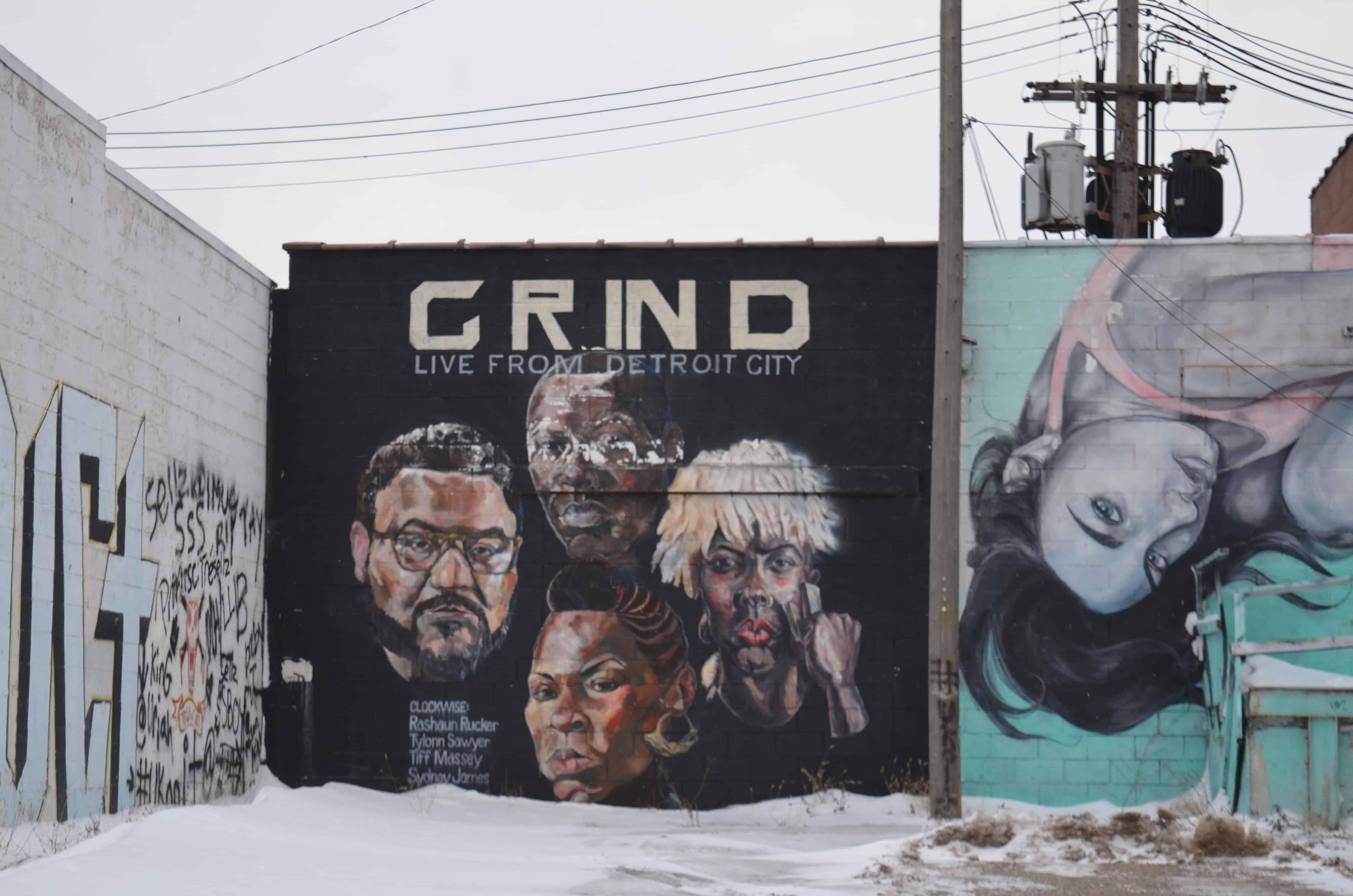 Grind faces street art mural Detroit