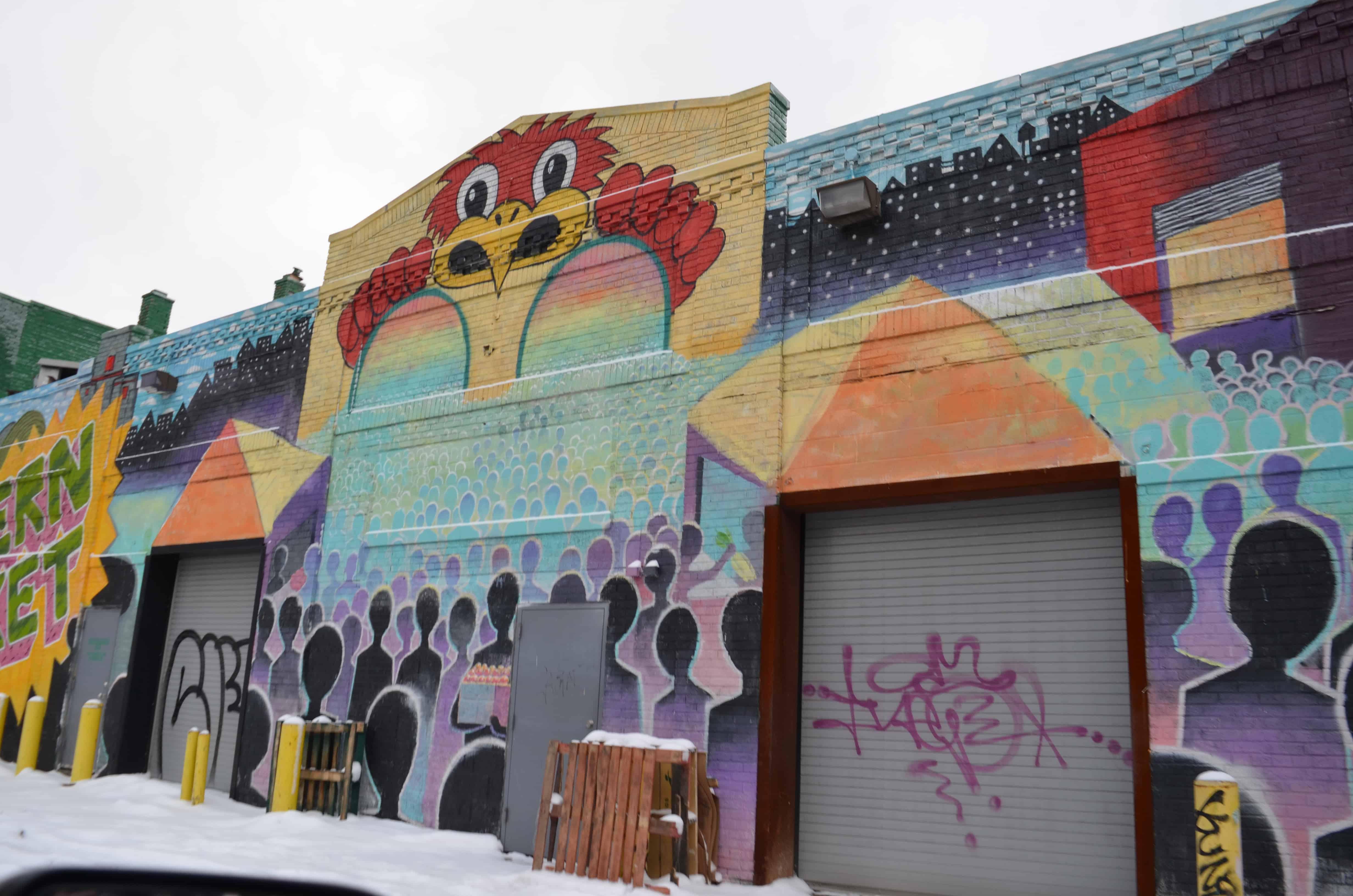 street art mural red bird Detroit