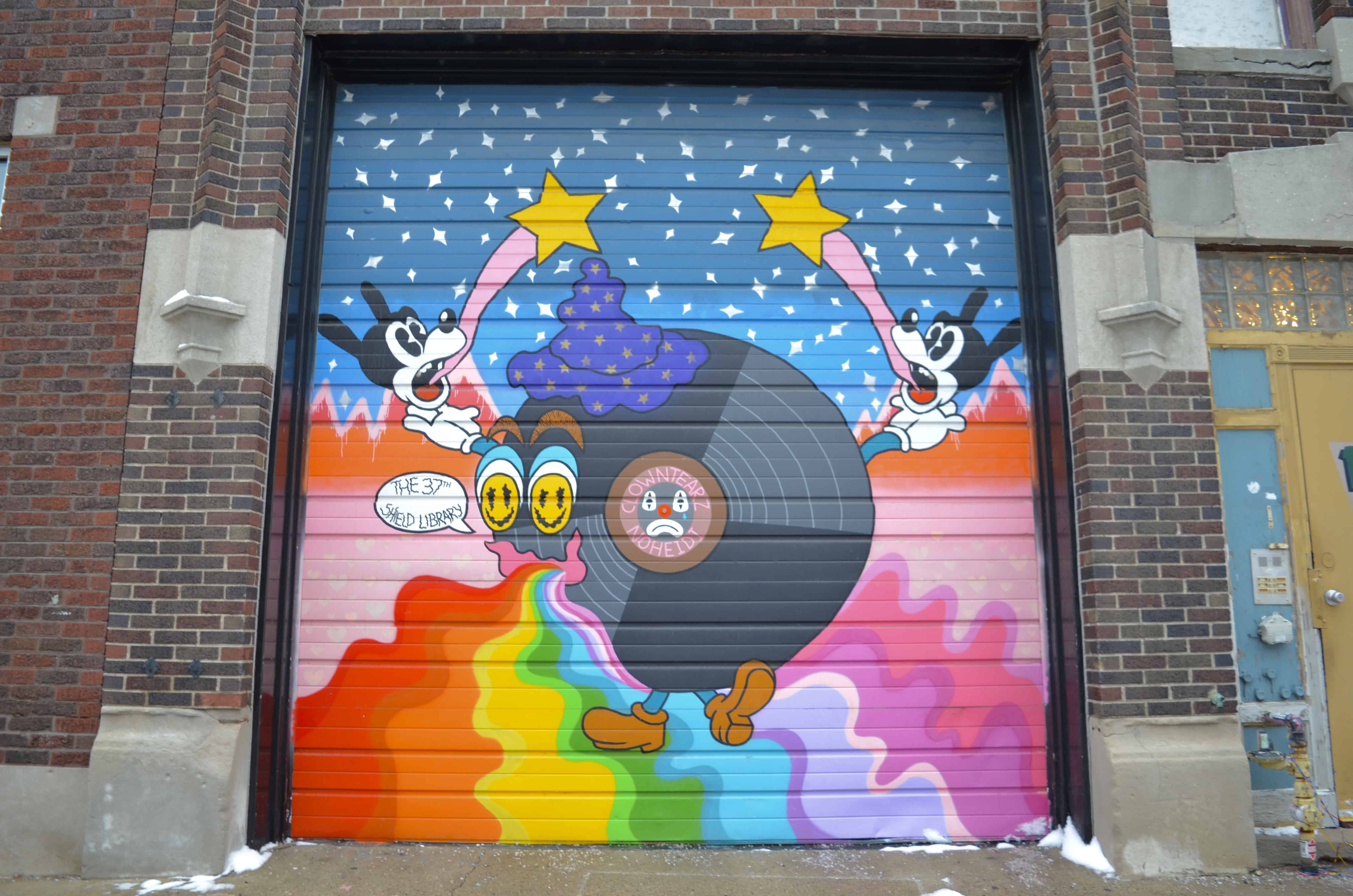 rainbow art mural in detroit