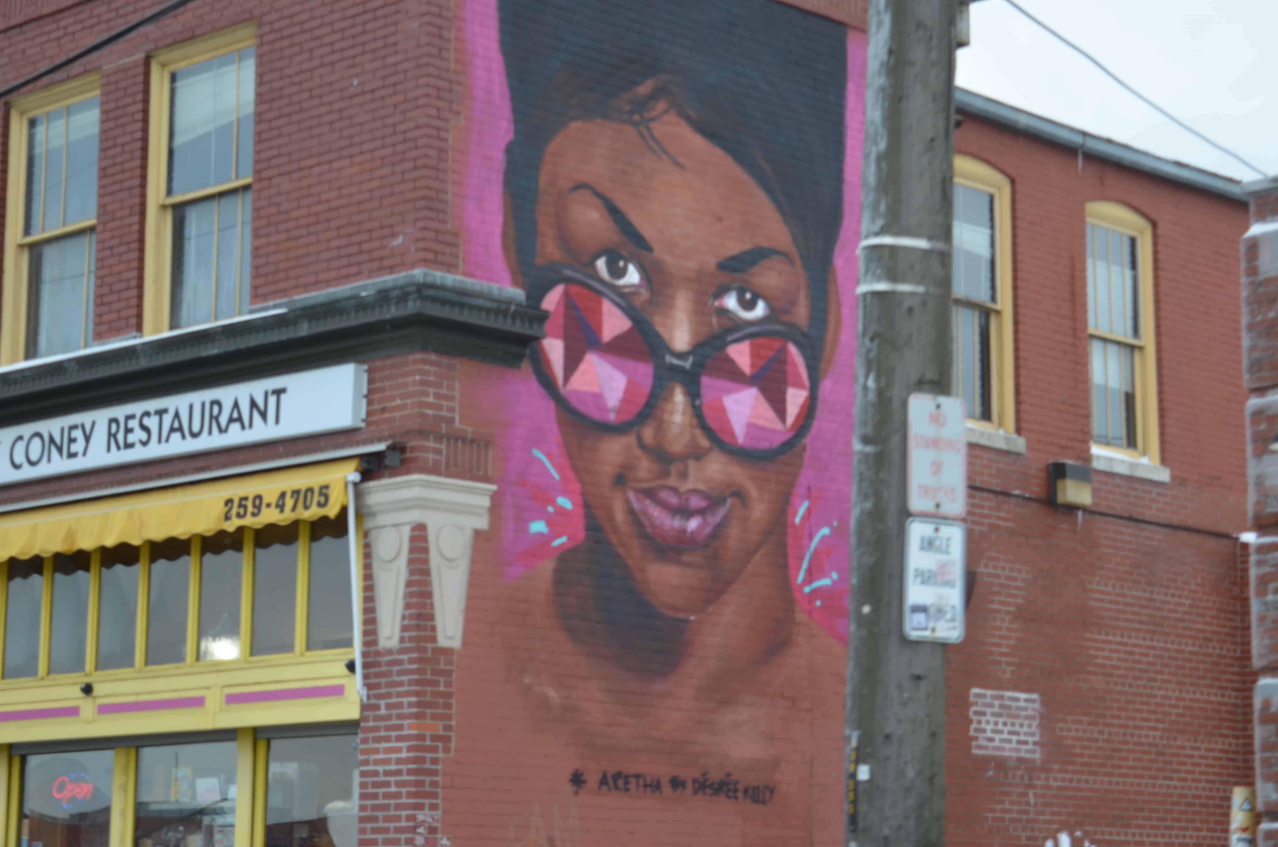 Street art mural lady sunglasses Detroit